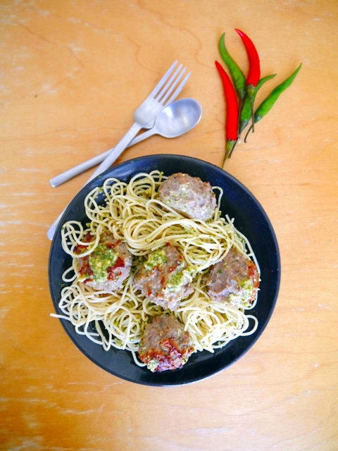Thai Basil Meatballs with Thai Pesto Recipe-Thai-Foodie